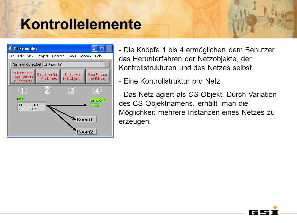 Kontrollelemente - Die Knöpfe 1 bis 4 ermöglichen dem Benutzer das Herunterfahren der Netzobjekte, der Kontrollstrukturen und des Netzes selbst.