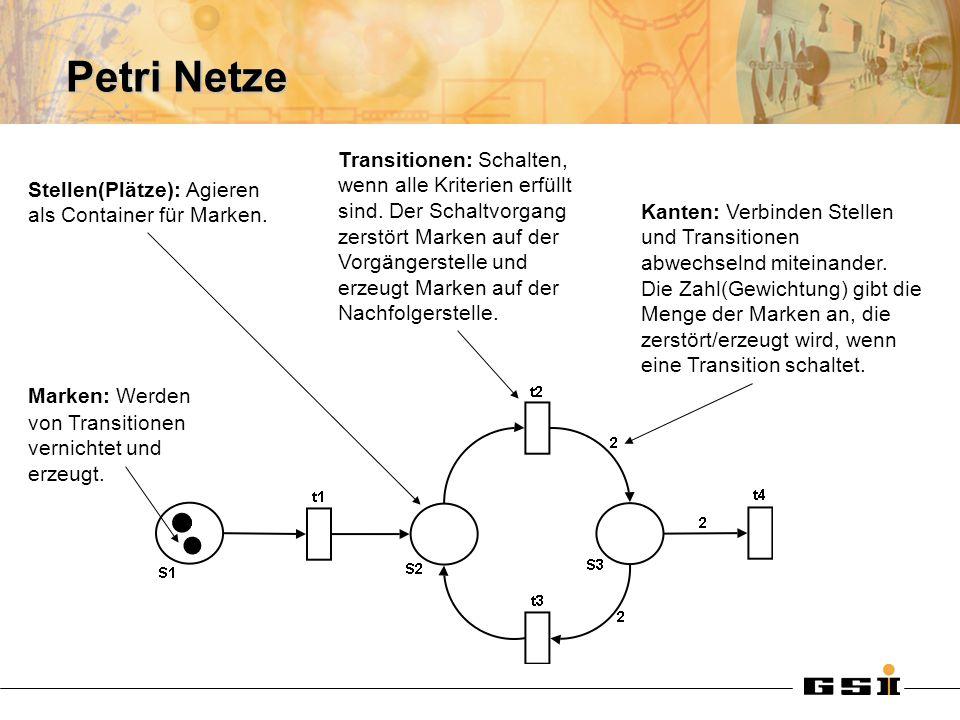 Petri Netze Marken: Werden von Transitionen vernichtet und erzeugt.
