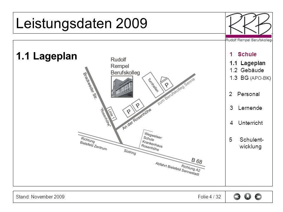 Stand: November 2009 Leistungsdaten 2009 Folie 4 / 32 1.1 Lageplan 1Schule 1.1Lageplan 1.2Gebäude 2Personal 3Lernende 4Unterricht 5Schulent- wicklungS