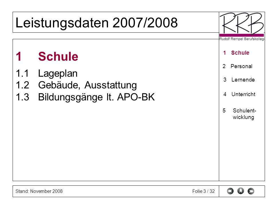 Stand: November 2008 Leistungsdaten 2007/2008 Folie 4 / 32 1.1 Lageplan 1Schule 1.1Lageplan 1.2Gebäude 2Personal 3Lernende 4Unterricht 5Schulent- wicklungSchulent- wicklung 1.3BG (APO-BK)