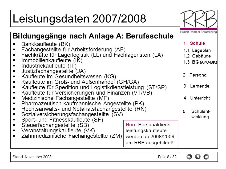 Stand: November 2008 Leistungsdaten 2007/2008 Folie 9 / 32 Bildungsgänge (nach Anlage A bis E) Anlage A:Berufsgrundschul- u.