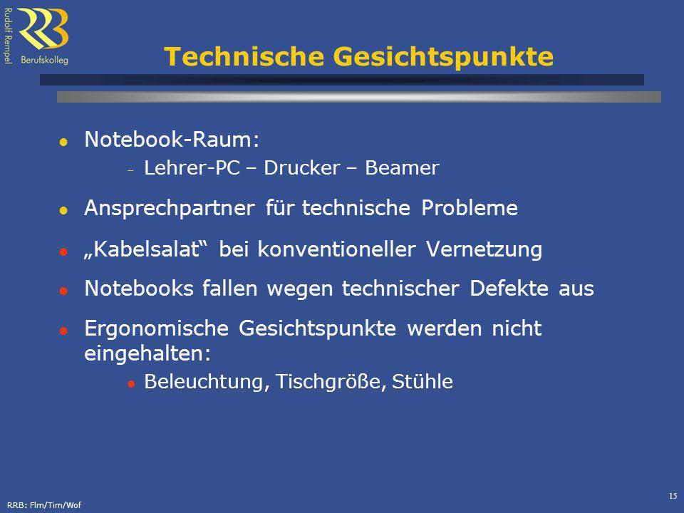 RRB: Flm/Tim/Wof 15 Technische Gesichtspunkte Notebook-Raum: – Lehrer-PC – Drucker – Beamer Ansprechpartner für technische Probleme Kabelsalat bei kon