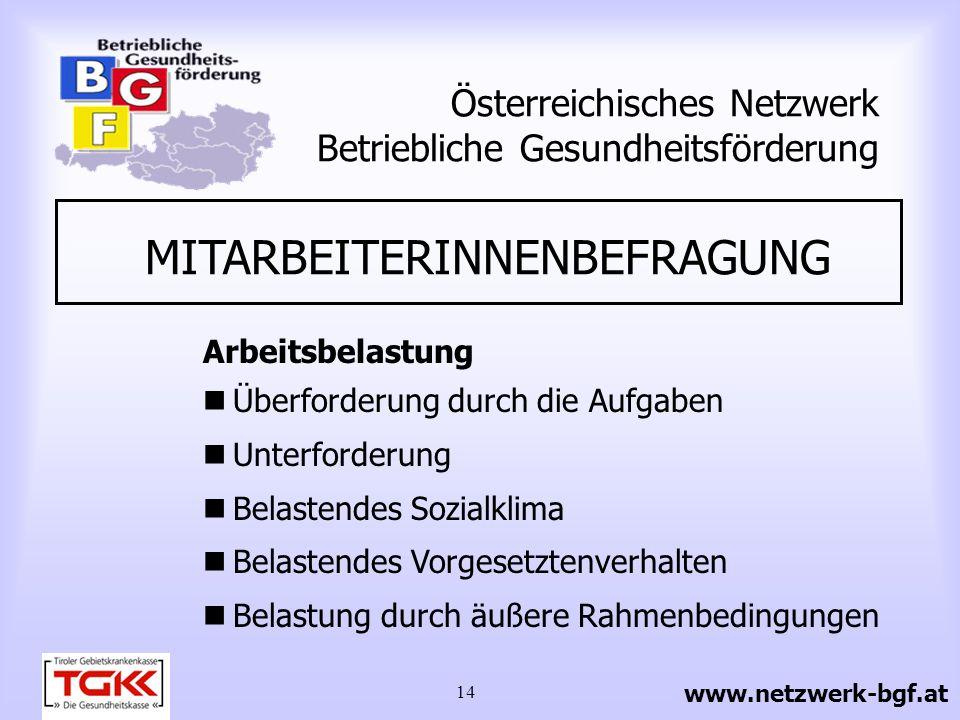 14 Österreichisches Netzwerk Betriebliche Gesundheitsförderung MITARBEITERINNENBEFRAGUNG Arbeitsbelastung Überforderung durch die Aufgaben Unterforder
