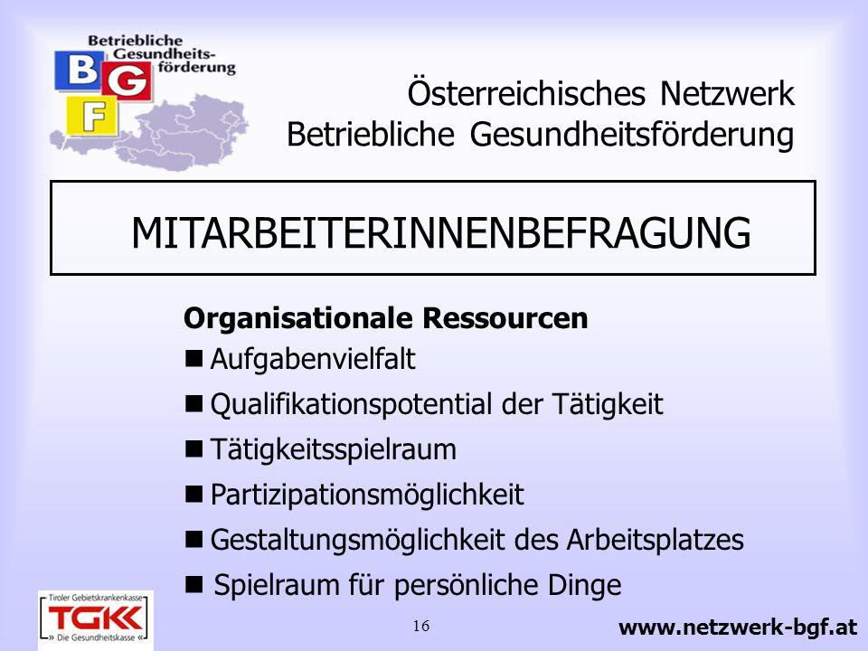 16 Österreichisches Netzwerk Betriebliche Gesundheitsförderung MITARBEITERINNENBEFRAGUNG Organisationale Ressourcen Aufgabenvielfalt Qualifikationspot