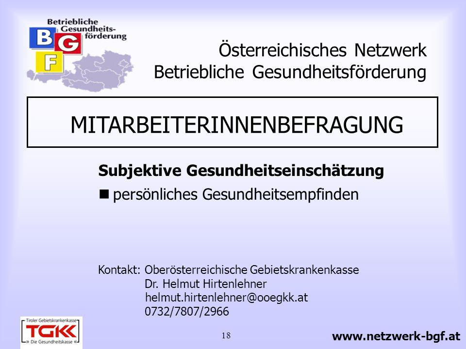 19 Österreichisches Netzwerk Betriebliche Gesundheitsförderung www.netzwerk-bgf.at Modul 1 Gesundheitszustand, Gesundheitsverhalten Modul 2 Sicherheit - Einschätzung der Gesundheit - Gesundheitsbewusstsein Beschwerden - Ernährung/Gewicht - Bewegung/Wirbelsäule - Sucht (Alkohol, Rauchen) - Lebensstil allgemein - Prävention Bewegungs- apparat, Wirbelsäule - Ernährungsprävention - Gewichtsreduktion - Suchtprävention - Verwendung von Sicherheits- vorkehrungen - Information über Verwendung - Kontrolle Module PRO-Fit InhalteAngriffsmöglichkeiten der Veränderung MITARBEITERINNENBEFRAGUNG