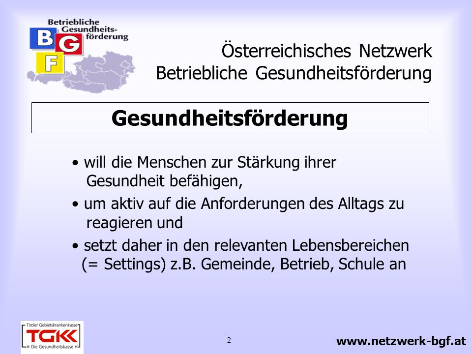 3 Österreichisches Netzwerk Betriebliche Gesundheitsförderung Einflussfaktoren auf die Gesundheit 20 % biologische, genetische Gegebenheiten 50 % Lebensstil (Quelle: Badura, 1996) www.netzwerk-bgf.at 10 % Gesundheitswesen (Spitäler, Ärzte etc.) 20 % (physische u.
