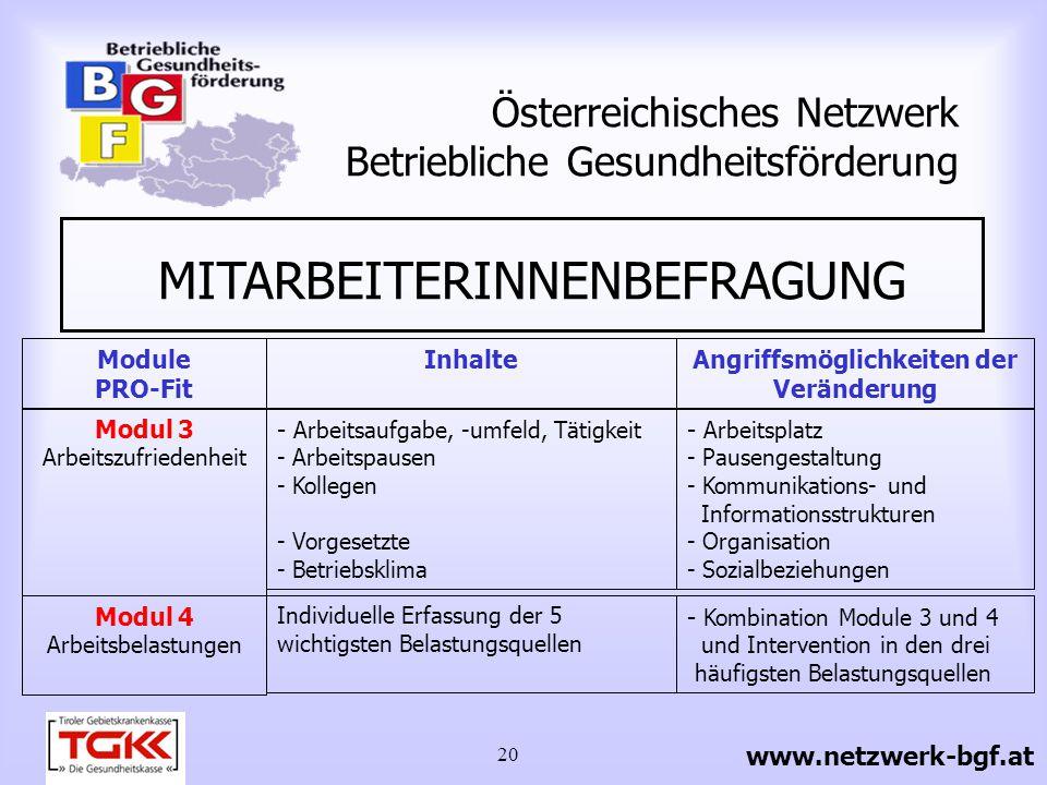 20 Österreichisches Netzwerk Betriebliche Gesundheitsförderung MITARBEITERINNENBEFRAGUNG www.netzwerk-bgf.at Modul 4 Arbeitsbelastungen Individuelle E