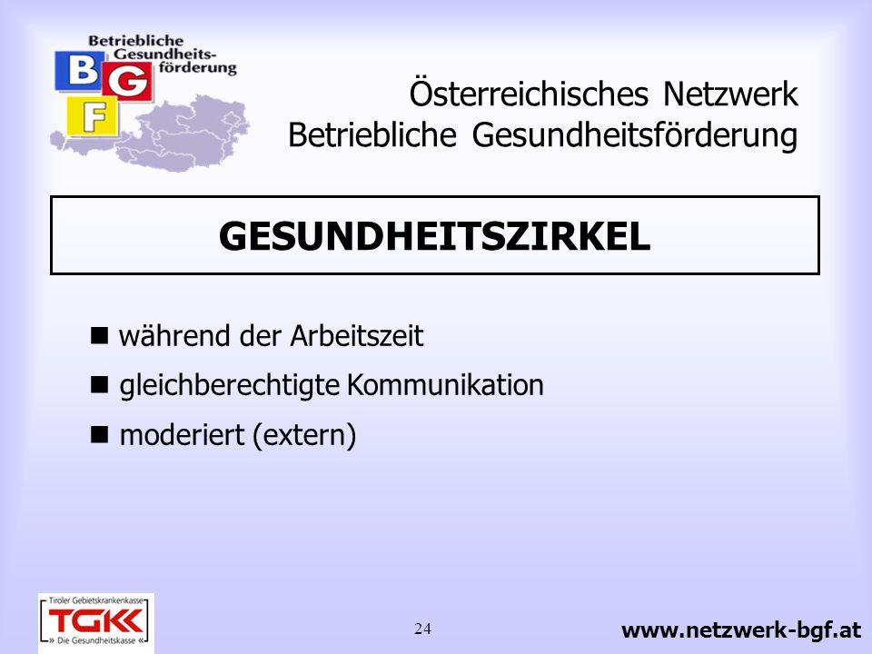 24 Österreichisches Netzwerk Betriebliche Gesundheitsförderung GESUNDHEITSZIRKEL während der Arbeitszeit gleichberechtigte Kommunikation moderiert (ex