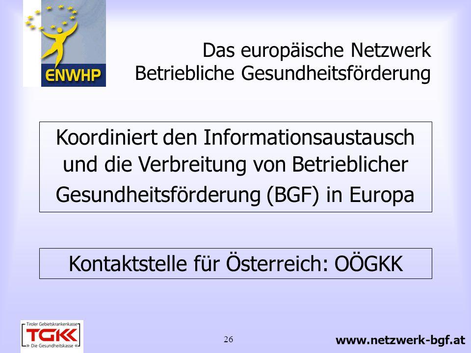 26 Das europäische Netzwerk Betriebliche Gesundheitsförderung Koordiniert den Informationsaustausch und die Verbreitung von Betrieblicher Gesundheitsf