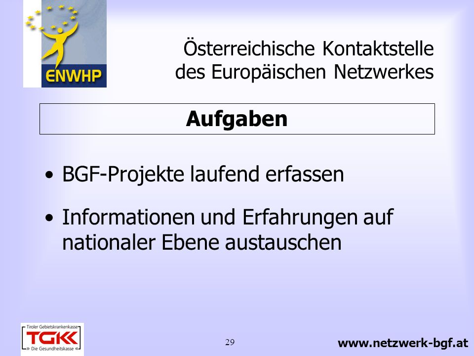 30 Beiträge für WHP-Net-News erstellen Öffentlichkeitsarbeit für BGF auf nationaler Ebene leisten NetzwerkpartnerInnen auf nationaler Ebene rekrutieren Österreichische Kontaktstelle des Europäischen Netzwerkes Aufgaben www.netzwerk-bgf.at