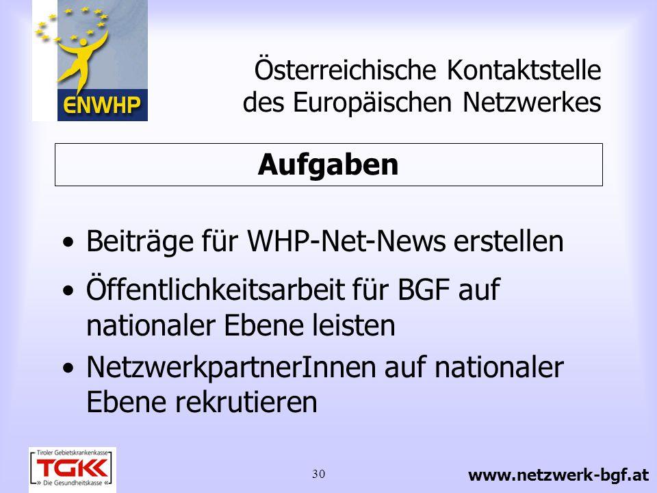 30 Beiträge für WHP-Net-News erstellen Öffentlichkeitsarbeit für BGF auf nationaler Ebene leisten NetzwerkpartnerInnen auf nationaler Ebene rekrutiere