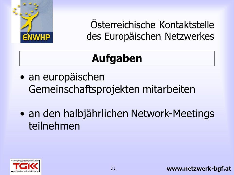 32 Österreichisches Netzwerk Betriebliche Gesundheitsförderung Eine Kooperationsgemeinschaft der Österreichischen Kontaktstelle des Europäischen Netzwerkes, der Regionalstellen in den Bundesländern und der Sozialpartner.