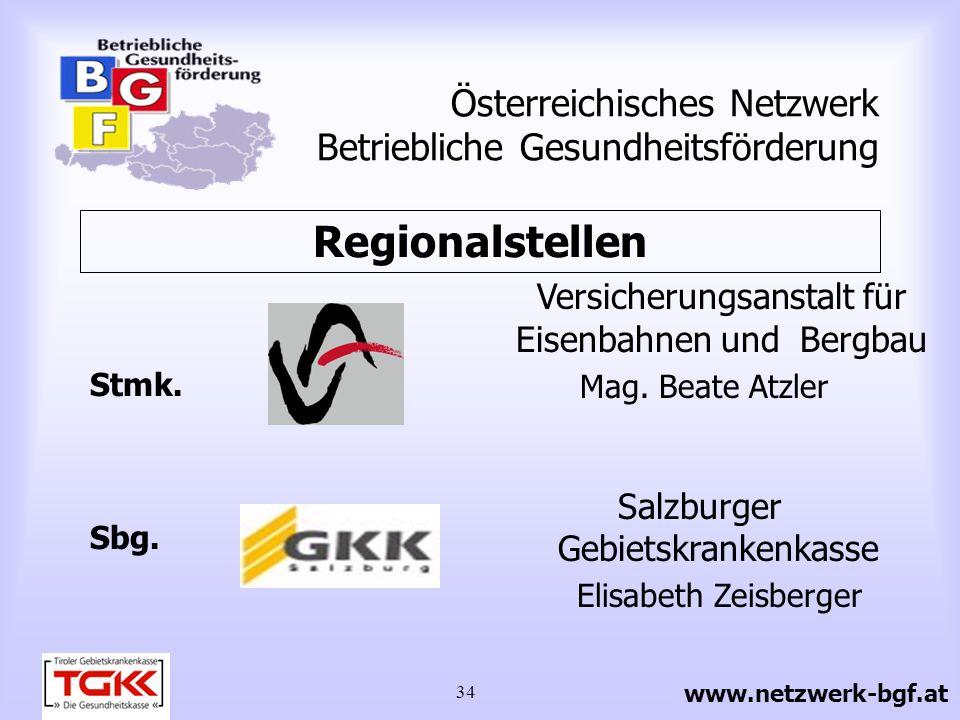 34 Österreichisches Netzwerk Betriebliche Gesundheitsförderung Versicherungsanstalt für Eisenbahnen und Bergbau Mag. Beate Atzler Stmk. Sbg. Salzburge