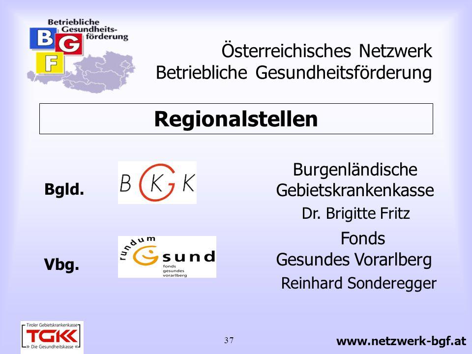 37 Österreichisches Netzwerk Betriebliche Gesundheitsförderung Burgenländische Gebietskrankenkasse Dr. Brigitte Fritz Fonds Gesundes Vorarlberg Reinha