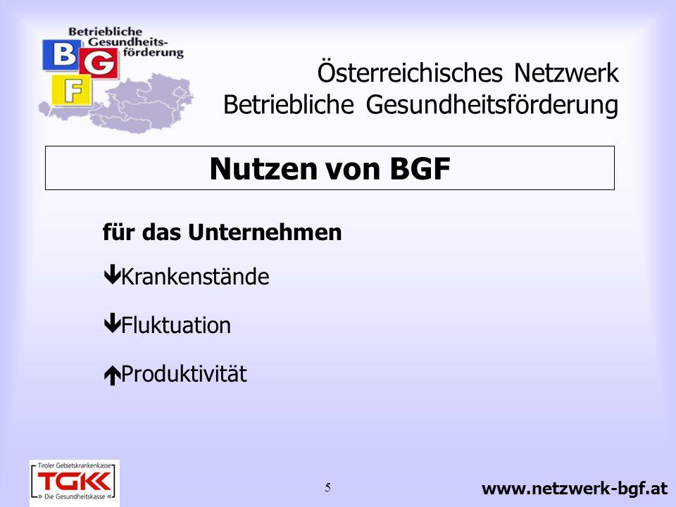 6 Österreichisches Netzwerk Betriebliche Gesundheitsförderung für die MitarbeiterInnen Arbeitsbelastungen Gesundheitsbeschwerden Wohlbefinden Nutzen von BGF www.netzwerk-bgf.at