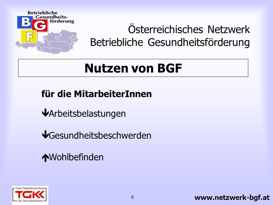 6 Österreichisches Netzwerk Betriebliche Gesundheitsförderung für die MitarbeiterInnen Arbeitsbelastungen Gesundheitsbeschwerden Wohlbefinden Nutzen v
