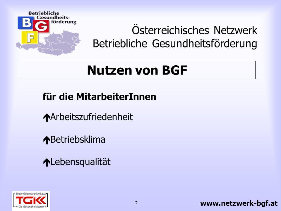 7 Österreichisches Netzwerk Betriebliche Gesundheitsförderung für die MitarbeiterInnen Arbeitszufriedenheit Betriebsklima Lebensqualität Nutzen von BG