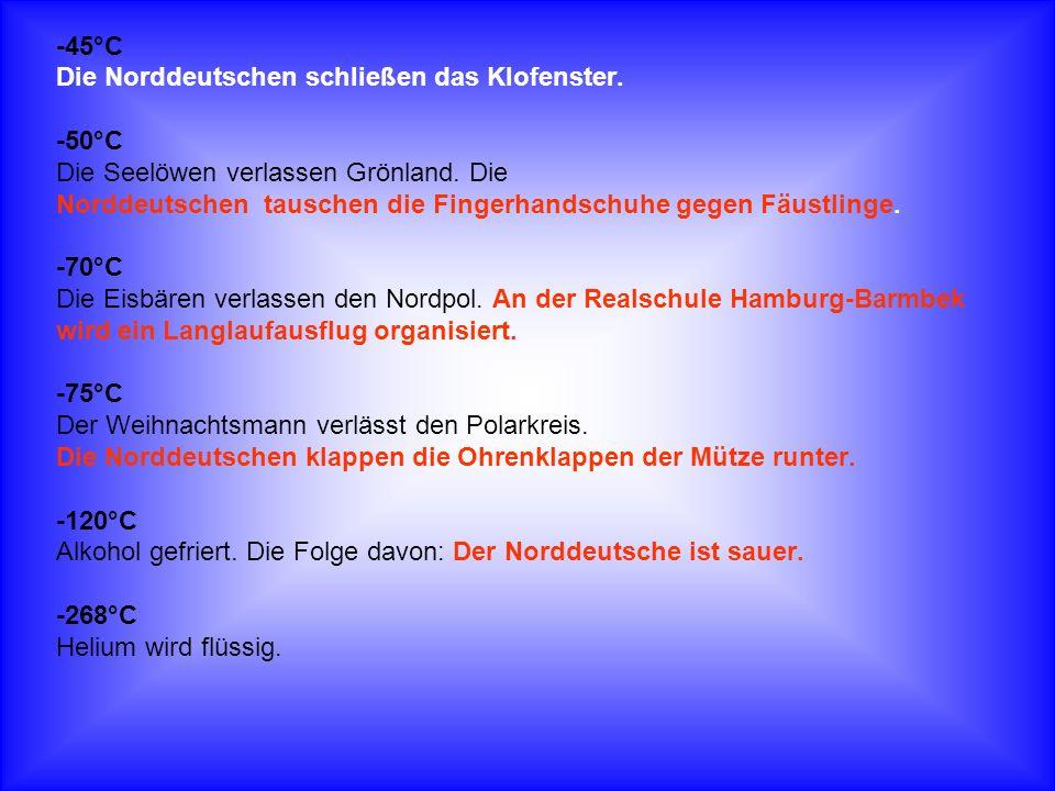 -45°C Die Norddeutschen schließen das Klofenster. -50°C Die Seelöwen verlassen Grönland. Die Norddeutschen tauschen die Fingerhandschuhe gegen Fäustli