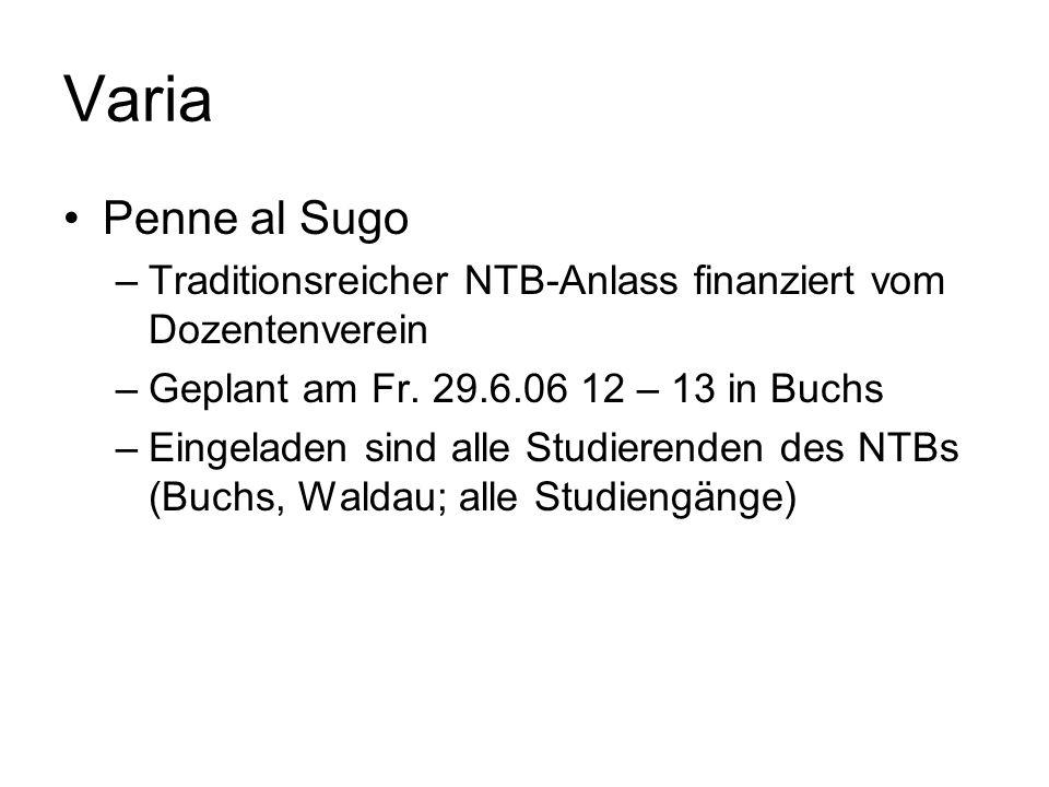 Varia Penne al Sugo –Traditionsreicher NTB-Anlass finanziert vom Dozentenverein –Geplant am Fr.