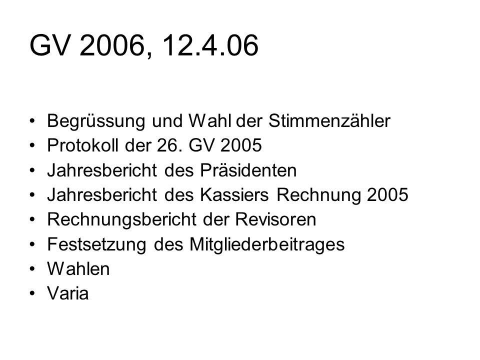 GV 2006, 12.4.06 Begrüssung und Wahl der Stimmenzähler Protokoll der 26.