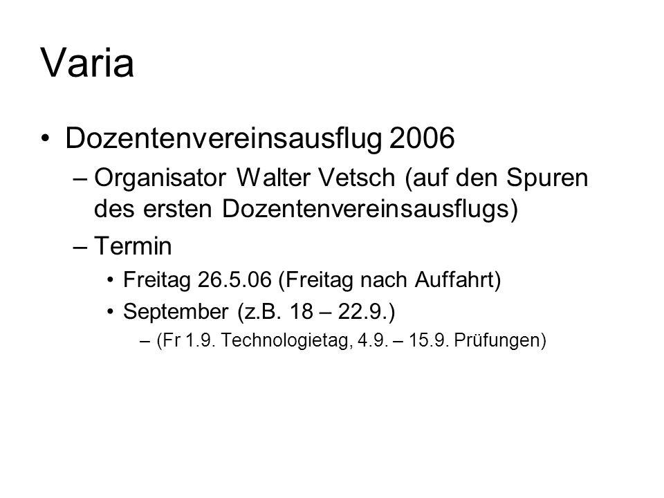 Varia Dozentenvereinsausflug 2006 –Organisator Walter Vetsch (auf den Spuren des ersten Dozentenvereinsausflugs) –Termin Freitag 26.5.06 (Freitag nach Auffahrt) September (z.B.