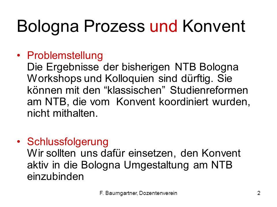 F. Baumgartner, Dozentenverein2 Bologna Prozess und Konvent Problemstellung Die Ergebnisse der bisherigen NTB Bologna Workshops und Kolloquien sind dü
