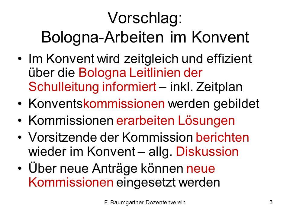 F. Baumgartner, Dozentenverein3 Vorschlag: Bologna-Arbeiten im Konvent Im Konvent wird zeitgleich und effizient über die Bologna Leitlinien der Schull