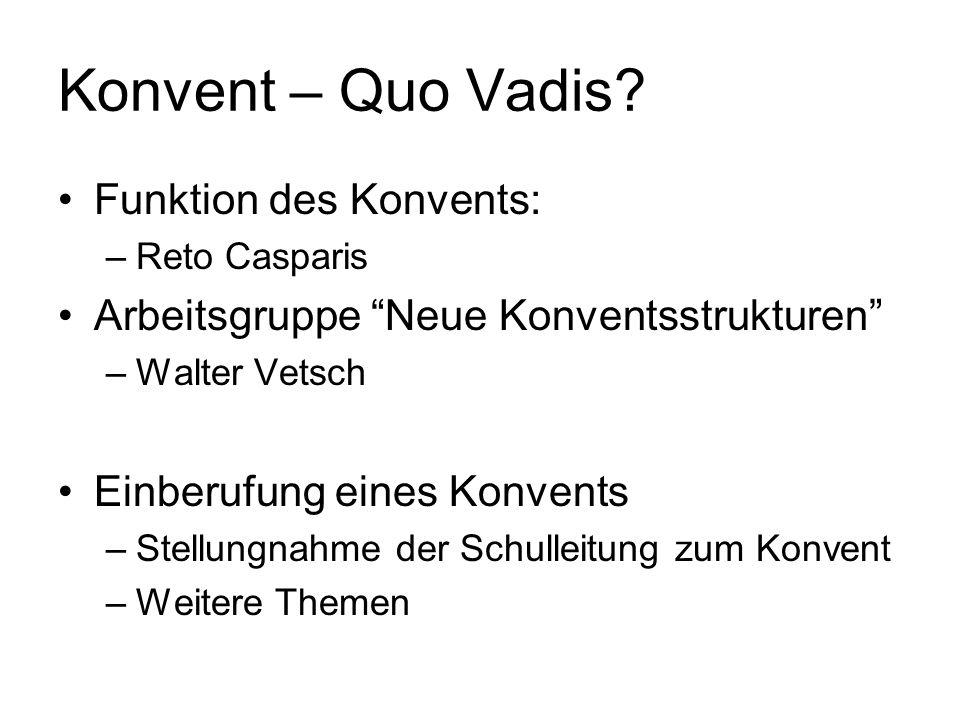 Konvent – Quo Vadis? Funktion des Konvents: –Reto Casparis Arbeitsgruppe Neue Konventsstrukturen –Walter Vetsch Einberufung eines Konvents –Stellungna