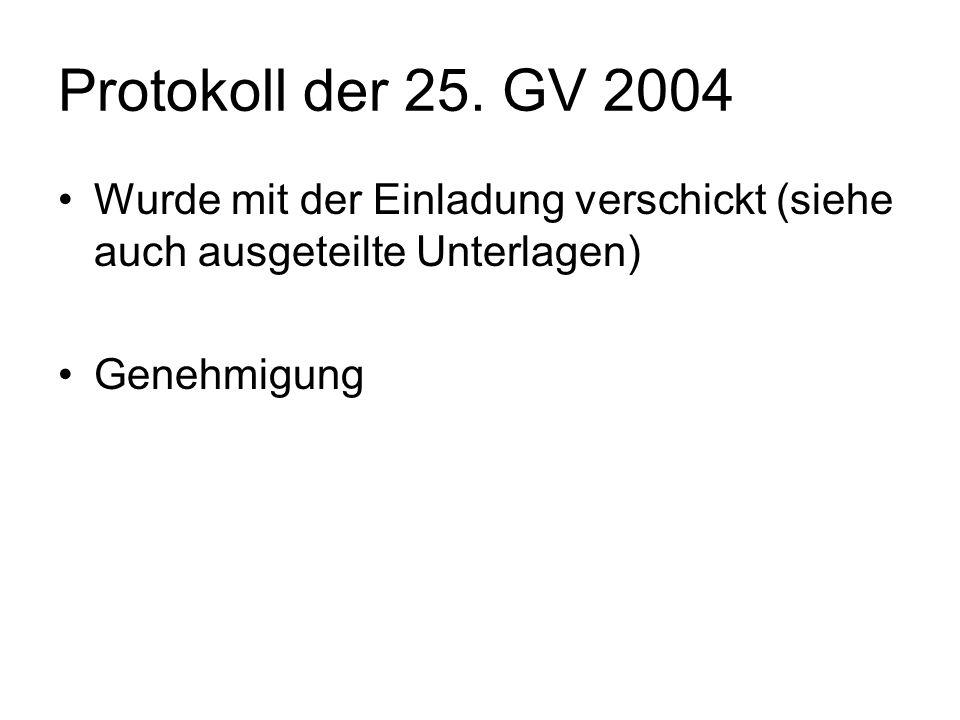 Protokoll der 25. GV 2004 Wurde mit der Einladung verschickt (siehe auch ausgeteilte Unterlagen) Genehmigung