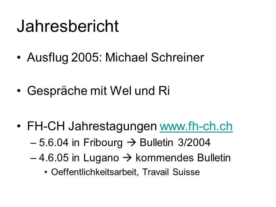Jahresbericht Ausflug 2005: Michael Schreiner Gespräche mit Wel und Ri FH-CH Jahrestagungen www.fh-ch.chwww.fh-ch.ch –5.6.04 in Fribourg Bulletin 3/20