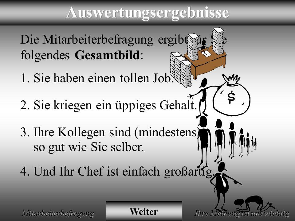 Animation by Helmut Rez 2001 * E-Mail: rez@psy.uni-muenchen.derez@psy.uni-muenchen.de Mitarbeiterbefragung Ihre Meinung ist uns wichtig Danke für Ihre offenen und ehrlichen Antworten.