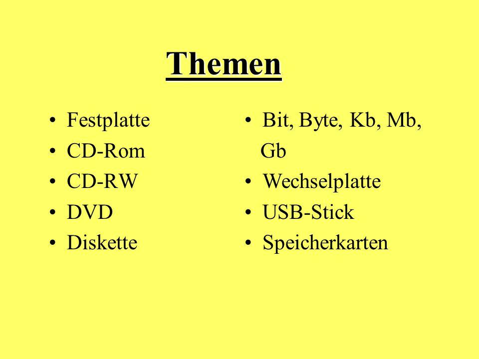Themen Festplatte CD-Rom CD-RW DVD Diskette Bit, Byte, Kb, Mb, Gb Wechselplatte USB-Stick Speicherkarten Themen