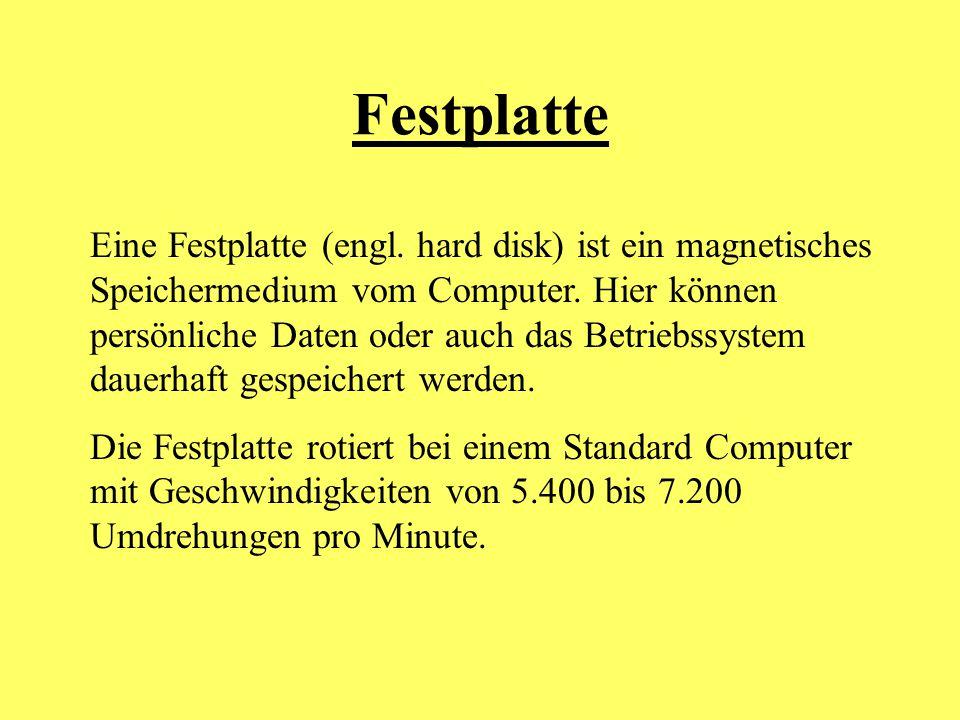 Festplatte Eine Festplatte (engl. hard disk) ist ein magnetisches Speichermedium vom Computer. Hier können persönliche Daten oder auch das Betriebssys