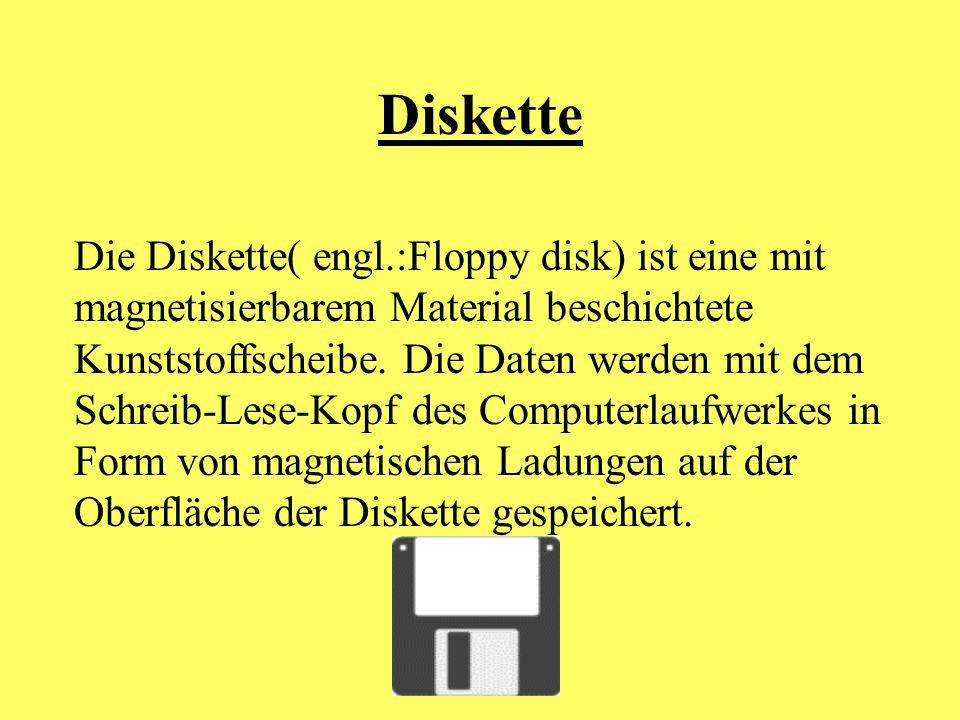 Diskette Die Diskette( engl.:Floppy disk) ist eine mit magnetisierbarem Material beschichtete Kunststoffscheibe. Die Daten werden mit dem Schreib-Lese