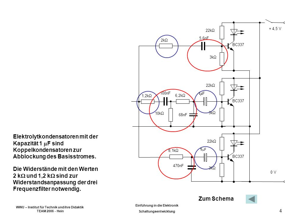 WWU – Institut für Technik und ihre Didaktik TEAM 2006 - Hein Einführung in die Elektronik Schaltungsentwicklung 5 Klänge setzen sich aus einem Gemisch akustischer Schwingungen des Hörbereichs zusammen.