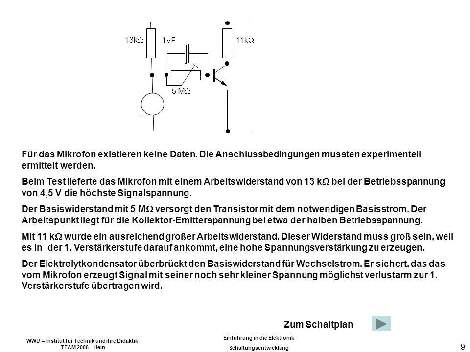 WWU – Institut für Technik und ihre Didaktik TEAM 2006 - Hein Einführung in die Elektronik Schaltungsentwicklung 9 Für das Mikrofon existieren keine Daten.