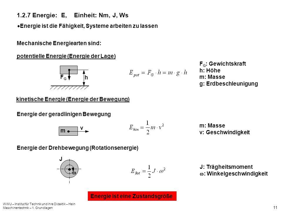 WWU – Institut für Technik und ihre Didaktik – Hein Maschinentechnik – 1. Grundlagen 11 1.2.7 Energie: E, Einheit: Nm, J, Ws Energie ist die Fähigkeit