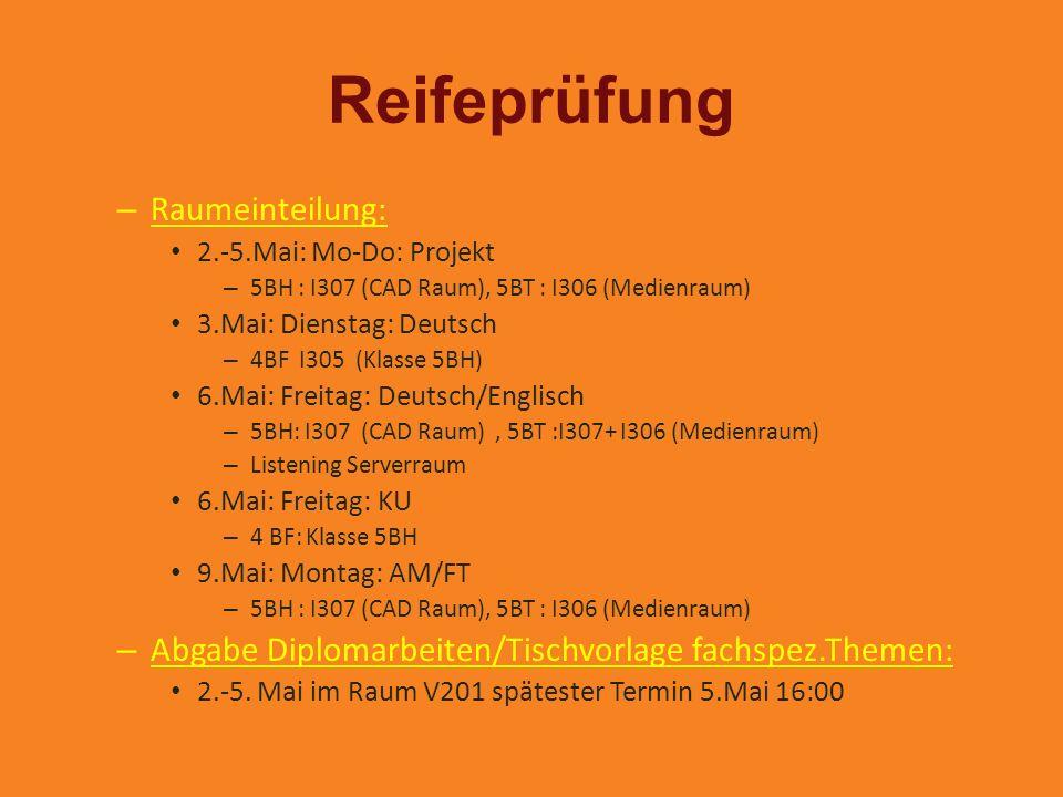 Reifeprüfung – Raumeinteilung: 2.-5.Mai: Mo-Do: Projekt – 5BH : I307 (CAD Raum), 5BT : I306 (Medienraum) 3.Mai: Dienstag: Deutsch – 4BF I305 (Klasse 5