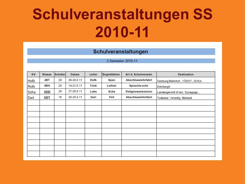 Schulveranstaltungen SS 2010-11