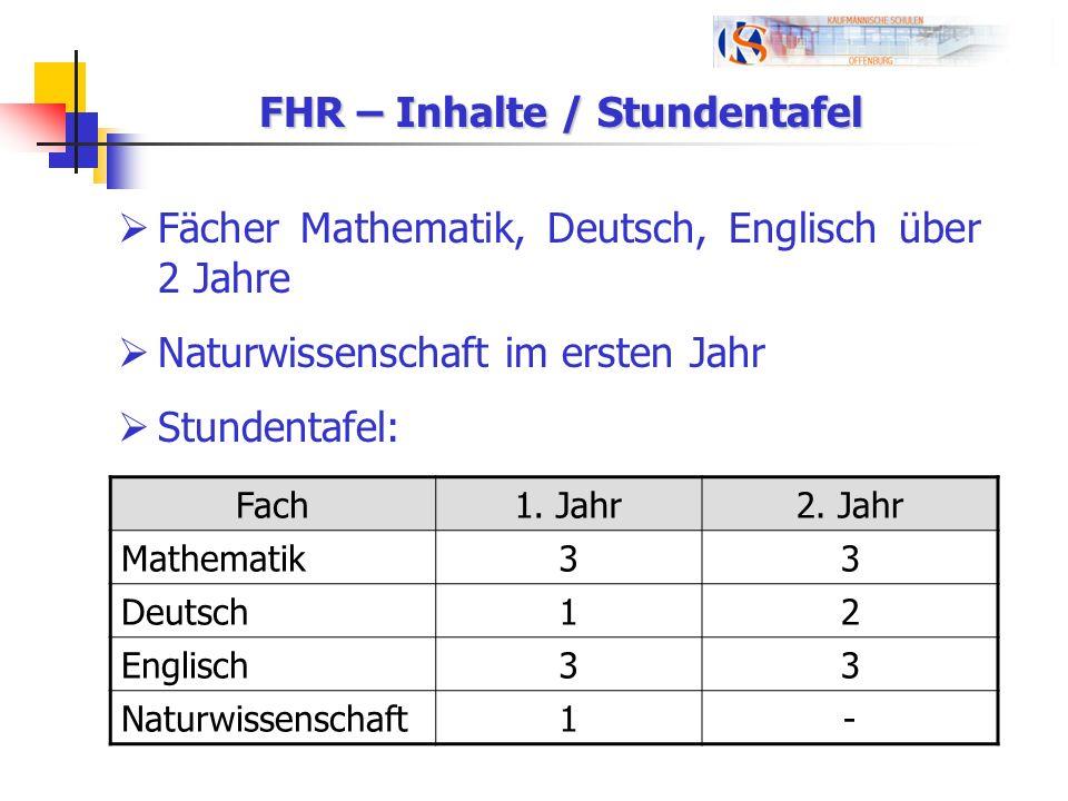 FHR – Inhalte / Stundentafel Fächer Mathematik, Deutsch, Englisch über 2 Jahre Naturwissenschaft im ersten Jahr Stundentafel: Fach1. Jahr2. Jahr Mathe