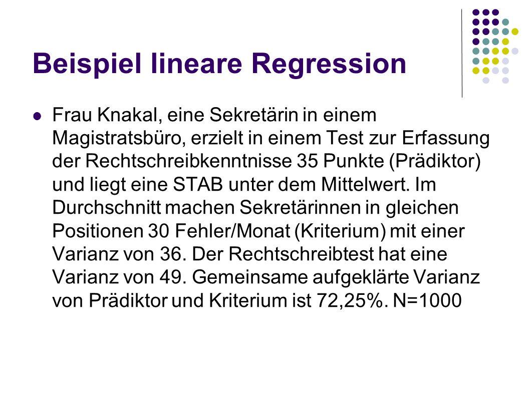 Beispiel lineare Regression Frau Knakal, eine Sekretärin in einem Magistratsbüro, erzielt in einem Test zur Erfassung der Rechtschreibkenntnisse 35 Pu