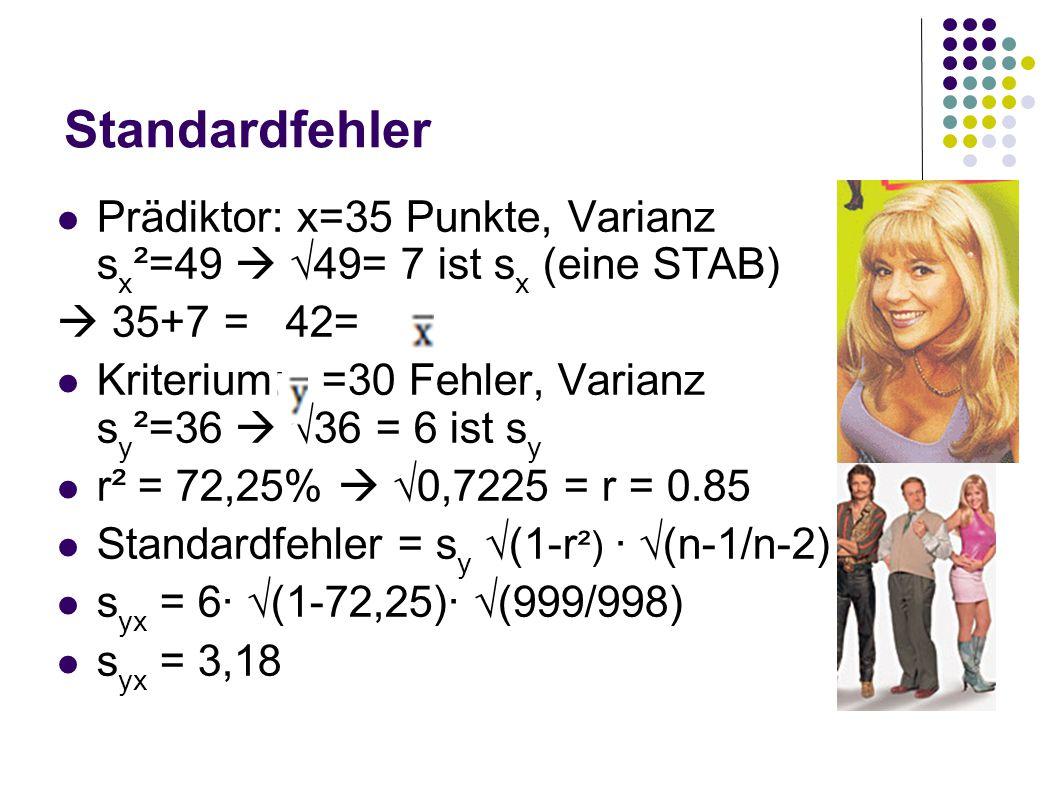 Standardfehler Prädiktor: x=35 Punkte, Varianz s x ²=49 49= 7 ist s x (eine STAB) 35+7 = 42= Kriterium: =30 Fehler, Varianz s y ²=36 36 = 6 ist s y r²