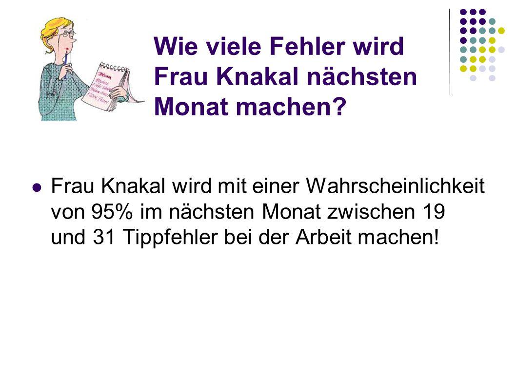 Wie viele Fehler wird Frau Knakal nächsten Monat machen? Frau Knakal wird mit einer Wahrscheinlichkeit von 95% im nächsten Monat zwischen 19 und 31 Ti