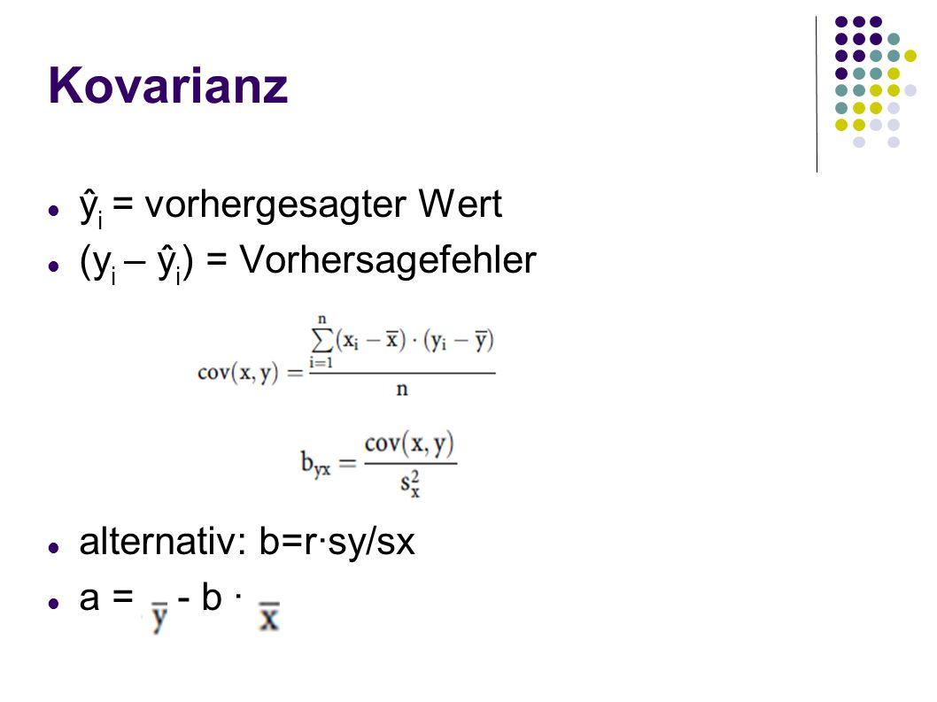 Kovarianz ŷ i = vorhergesagter Wert (y i – ŷ i ) = Vorhersagefehler alternativ: b=r·sy/sx a = - b ·