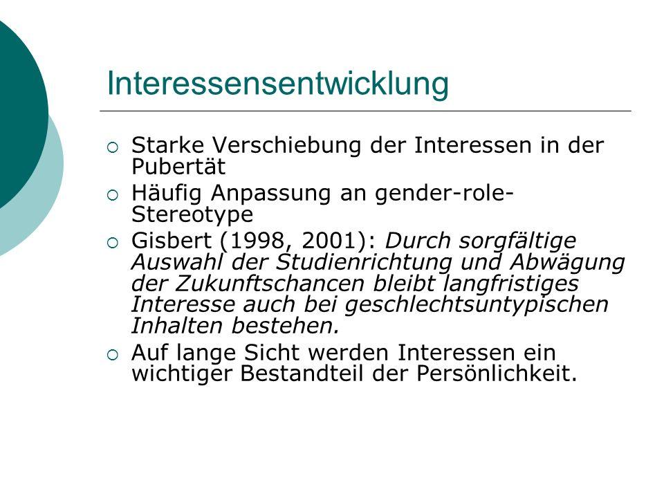 Interessensentwicklung Starke Verschiebung der Interessen in der Pubertät Häufig Anpassung an gender-role- Stereotype Gisbert (1998, 2001): Durch sorg