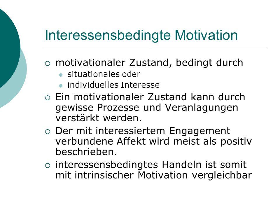 Interessensbedingte Motivation motivationaler Zustand, bedingt durch situationales oder individuelles Interesse Ein motivationaler Zustand kann durch