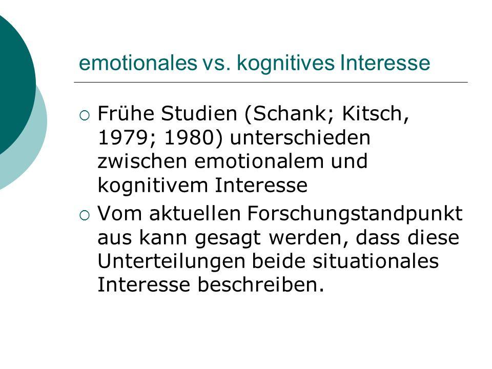 emotionales vs. kognitives Interesse Frühe Studien (Schank; Kitsch, 1979; 1980) unterschieden zwischen emotionalem und kognitivem Interesse Vom aktuel