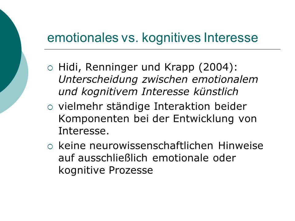 emotionales vs. kognitives Interesse Hidi, Renninger und Krapp (2004): Unterscheidung zwischen emotionalem und kognitivem Interesse künstlich vielmehr