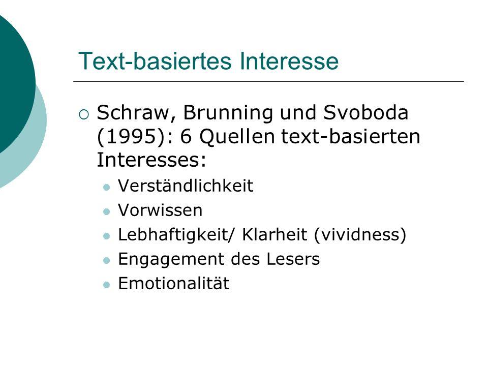 Text-basiertes Interesse Schraw, Brunning und Svoboda (1995): 6 Quellen text-basierten Interesses: Verständlichkeit Vorwissen Lebhaftigkeit/ Klarheit