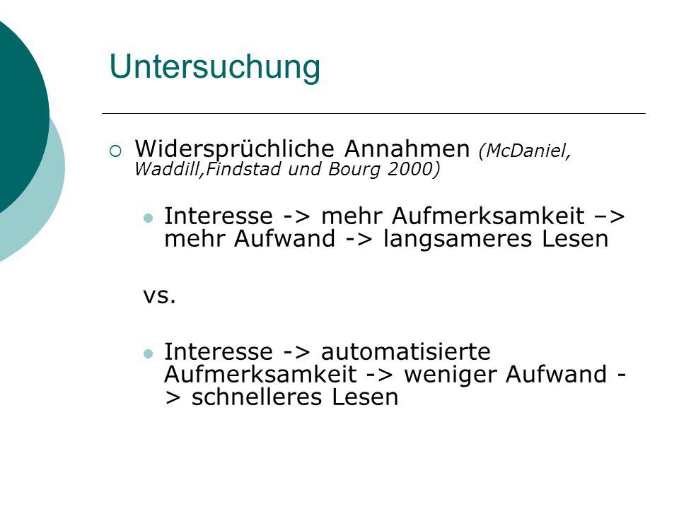 Untersuchung Widersprüchliche Annahmen (McDaniel, Waddill,Findstad und Bourg 2000) Interesse -> mehr Aufmerksamkeit –> mehr Aufwand -> langsameres Les